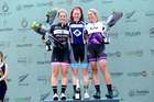 The podium finishers from the Women's Classic event at 40th Lake Taupo Cycle Challenge today. Photo/ Steve Knowles.