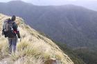 A tramper descending towards Alpha Hut in the Tararua Ranges. Photo / Andrew Bonallack