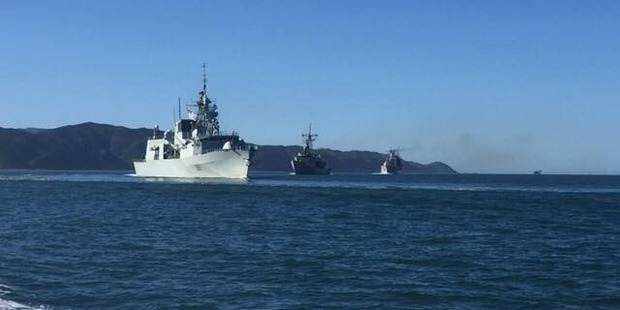 Five vessels from the US, Canadian, Australian and New Zealand navies have arrived in Wellington Harbour. Photo / Greater Wellington Regional Council Facebook