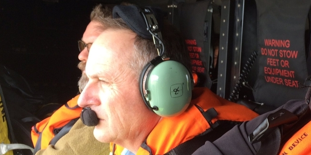 John Key is whisked to Kaikoura hours after the devastating earthquake.