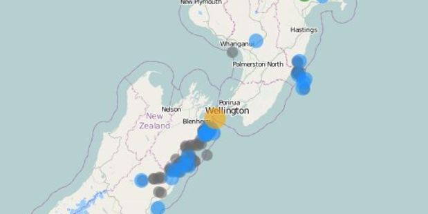 Wellingtonians and people living on the top of the South Island were shaken awake as a strong quake rattled the centre of the country this morning. Photo / GeoNet
