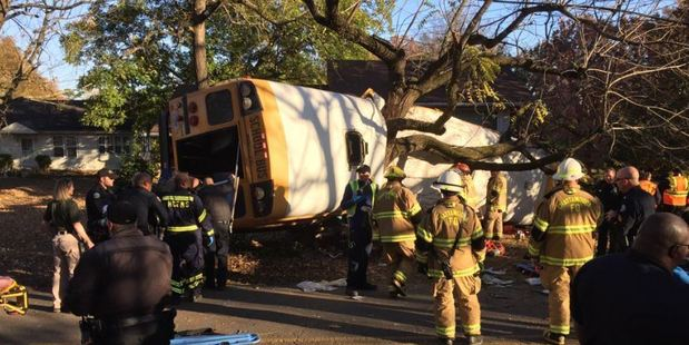 The crash resulted in the deaths of five young children who were onboard the bus. Photo / AP