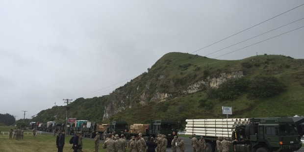 Loading A fourth aid convoy to Kaikoura has just rolled into the earthquake-hit town. Photo / Kurt Bayer