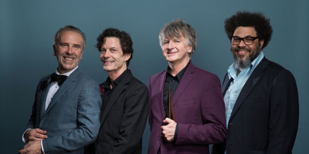 (L-R) Nick Seymour, Mark Hart, Neil Finn and Matt Sherrod of Crowded House pose for a portrait after being inducted into the ARIA Hall of Fame. Photo / Getty Images