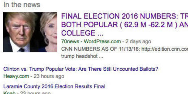 A fake news story was a top Google search result following the election. Picture / Google