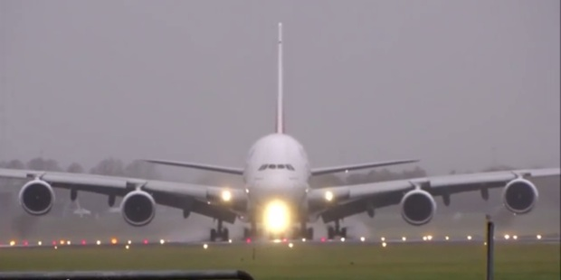 The A380 touched down almost sideways to compensate for the strong crosswinds.