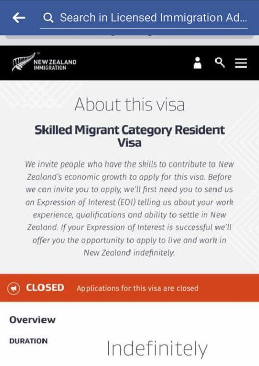 Immigration New Zealand's website this morning said the Skilled Migrant Category resident visa was closed indefinitely.