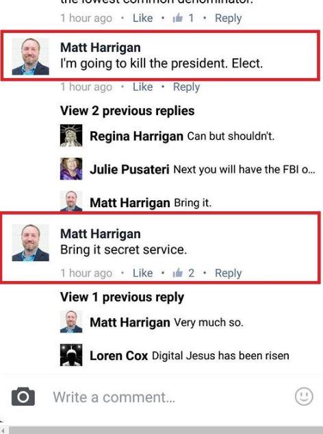 Part of Matt Harrigan's posts to his personal Facebook page.