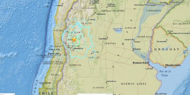The earthquake was quite deep but felt by millions in South America. Image / USGS