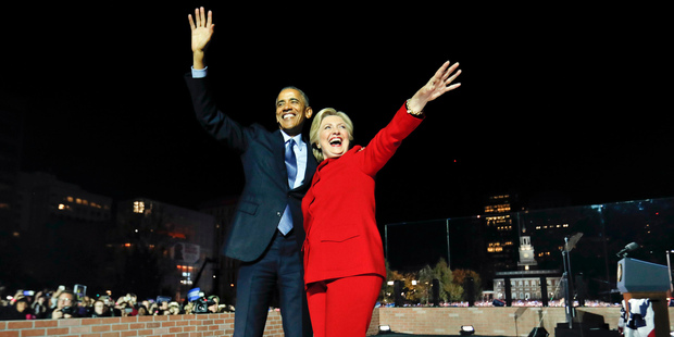 The anointed one: US Democratic presidential nominee Hillary Clinton with US President Barack Obama during the election campaign. Photo / AP