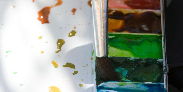 Brush and watercolor palette . (Photo by: Universal Education/Universal Images Group via Getty Images)