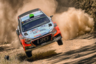 Hayden Paddon has slipped from second to fifth after suffering heavy external damage to his Hyundai rally car. Photo / Photosport