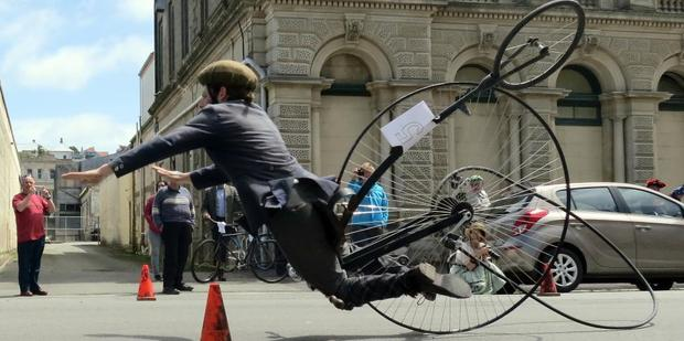 Loading Oliver Briggs takes a spectacular tumble during a race at the Victorian Heritage Celebrations in Oamaru on Saturday. Photo / Jamie Wasilchenko