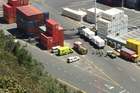 SPILL: Emergency services at the scene of a chemical spill at Napier Port. PHOTO WARREN BUCKLAND