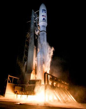 The satellite take off.