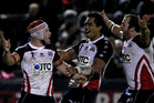 USA celebrate scoring a try against the Cook Islands in the 2013 Rugby League World Cup. Photo / Photosport