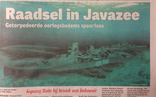 The lost Dutch ships of the battle of the Java sea made front page news in the Netherlands.