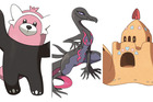 Bewear, left, Salazzle and Palossand are amongst the strangest additions to the world of Pokémon.