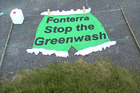 Washerwomen will be pegging a huge pair of green bloomers and other assorted green laundry items on a line strung from the pohutukawas opposite Fonterra's HQ this afternoon. Photo / Supplied
