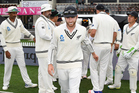 Kane Williamson leads the team onto the field for the start of play. Photosport