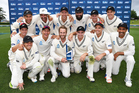 Kane Williamson and Black Caps players pose for a team photo as they celebrate a 2-0 series win over Pakistan. Photo / Photosport