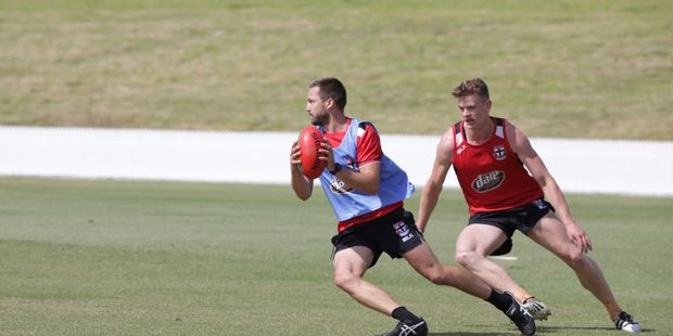 AFL STARS: Jarryn Geary makes a run for it at Bay Oval today. Photo/Andrew Warner