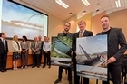 Wairoa River bridge design announced as part of the Omokoroa to Tauranga Cycle Trail project. Designer and architect  Blair Johnston, Principal, Warren and Mahoney Architects, Donald McLaren Smith managing director of Novare Design Limited.