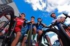 Tauranga schoolboys selected in NZ Junior Development cycling team. L-R Jack Wilson, 17, James Johnson, 16, Matthew Lochhead, 16, Fergus Hamilton, 15. Photo/George Novak