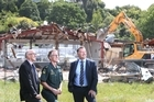 The old St Johns building being demolished. L-R Bill Holland Jeremy Gooders and Glenn Keaney.