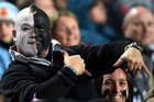 A bloke with a questionable haircut at an All Blacks game. Photo / Photosport