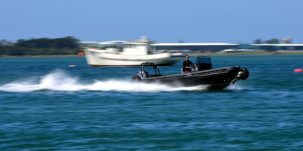 Demonstration of the Sealegs amphibious aluminium rescue boat, at the Tauranga Boat Expo and Water Festival. Photo / File
