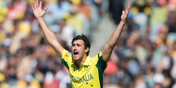 Mitchell Starc of Australia in action against New Zealand during the World Cup final. Photo / Brett Phibbs