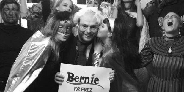 Alastair Brown, dressed as Bernie Sanders at a party. Photo / Supplied
