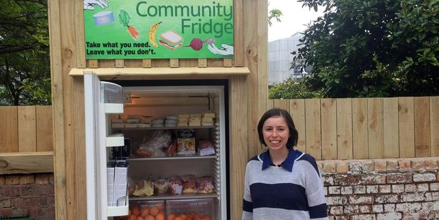 Amanda Chapman and the new Community Fridge which will offer free food for anyone in need in central Auckland. The fridge opens today. Photo / Supplied