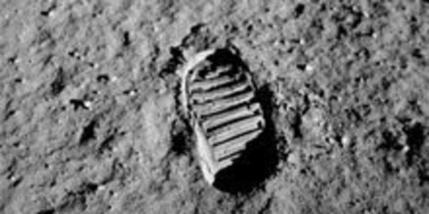 Buzz Aldrin's lunar footprint in a photo taken by him on July 21, 1969. Photo / Wikimedia