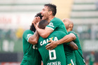 Chapecoense's Alan Ruschel celebrates with his teammates during a national soccer championship match in Chapeco, Brazil. Photo / AP