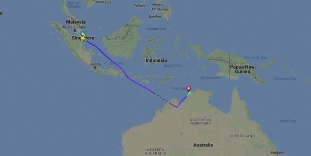 An Auckland Airport spokeswoman said the flight, number NZ281, was due to land in Auckland at 11.40pm. Photo / Google