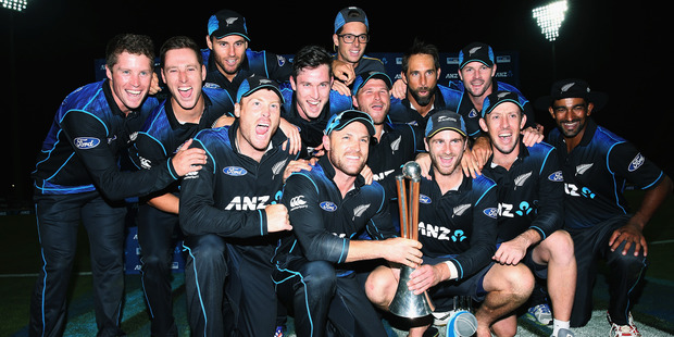 The Black Caps celebrate with the Chappell-Hadlee trophy earlier in the year. Photo / Getty