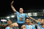 Paul Gallen of the Blues is chaired off the field after playing his final Origin game. Photo / Getty Images
