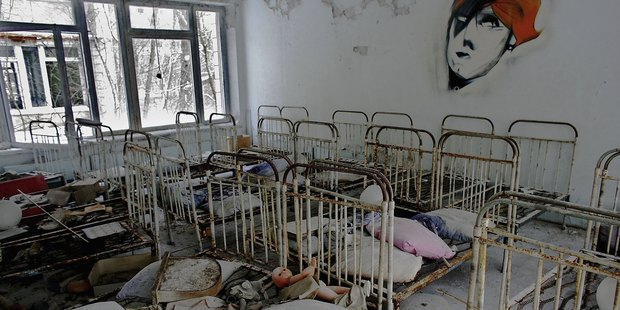 The remnants of beds are seen in an abandoned in a pre school in the deserted town of Pripyat on January 25, 2006 in Chernobyl, Ukraine. Photo / Getty