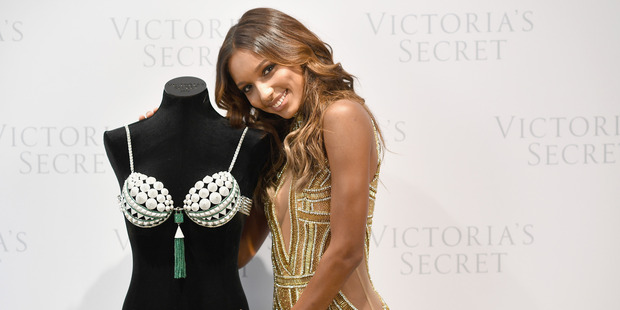 Victoria's Secret Angel Jasmine Tookes with the the $3 million gemstone-encrusted fantasy bra. Photo / Getty