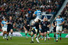 Elliot Daly of England is sent off after the high tackle on Leonardo Senatore of Argentina. Photo / Getty