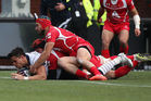 Sean Maitland of Scotland scores a try against Georgia at Rugby Park in Kilmarnock, Scotland. Photo / Getty