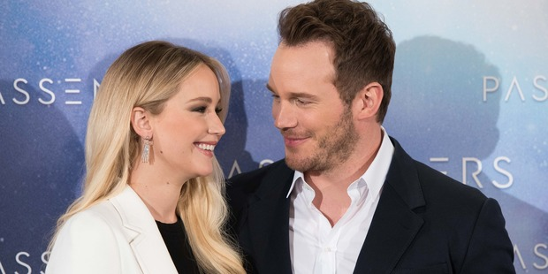 Chris Pratt and Jennifer Lawrence in 'Passengers' photocall in Madrid on Nov 30, 2016. Photo / Getty