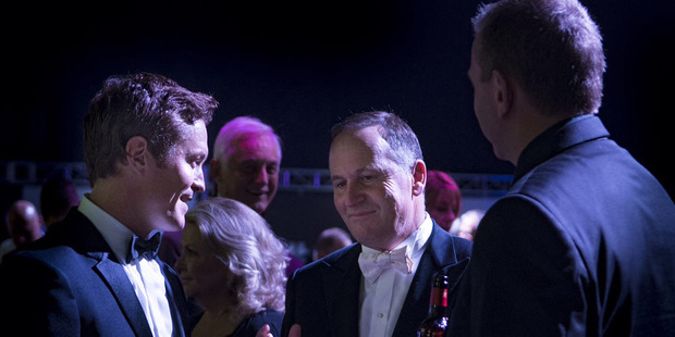 John Key was among the speakers at last night's Legends of Speed event at Auckland's Vector Arena. Photo / Matthew Hansen.