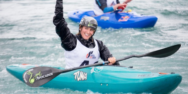 Luuka Jones waited four long days, ironically until her least favoured event, before climbing to the top of the podium at the Whitewater XL kayaking event in Auckland. Photo / Jamie Troughton