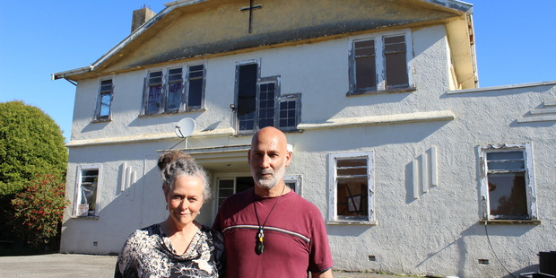 NEW OWNERS: Drew Mackenzie and Anthony Ryan in front of a manor house at the former Marycrest school site in Te Horo.
