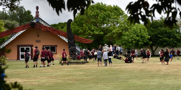 Student outside their classrooms at Gisborne's Lytton High School. Photo / Gisborne Herald