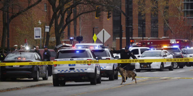 Emergency services were quick to act on a report of an active shooter at Ohio State University. Photo / AP
