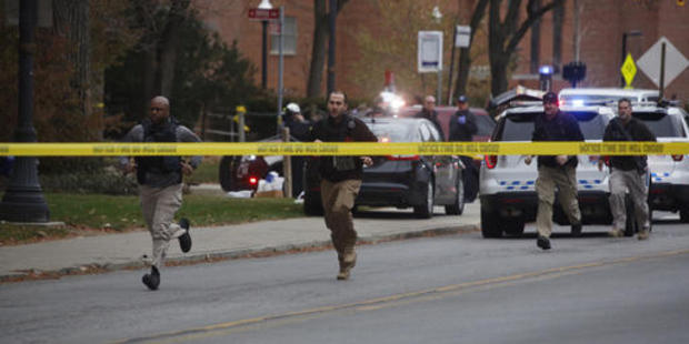 Police respond to reports of an active shooter on campus at Ohio State University. Photo / AP